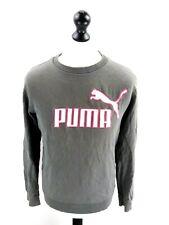 PUMA Mens Jumper Sweater M Medium Grey Pink White Cotton
