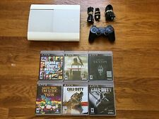 Sony PlayStation 3 Super Slim 500gb White Console+6 Games bundle lot ps3 system