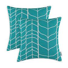 Pack of 2 Fashion Geo Stem Panels Cushion Covers Pillows Shell Home Sofa 45x45cm Teal - 45cm