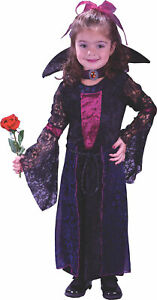 GIRLS TODDLER VAMPIRESS GOTHIC VELVET DRESS COSTUME 2T 4T FW1552