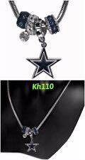 NFL Dallas Cowboys Euro Bead Necklace Football Licensed Rhinestones Charm