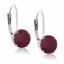 Round 5mm Genuine Red Ruby Sterling Silver Leverback Stud Earrings