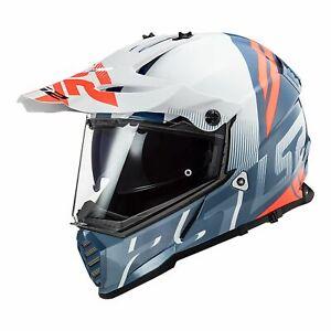 LS2 MX436 PIONEER EVO ADVENTURE MOTORCYCLE HELMET Evolve Wht/Cobalt SIZE MEDIUM