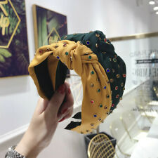 Women's Knot Tie Hairband Headband Crystal Wide Cross Hair Band Hoop Accessories