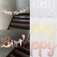 Happy Birthday Banner Bunting Gold Rose Gold Gilitter Letter Party Decorations