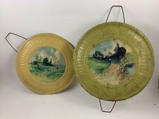 Pair Of Vintage Avocado Green & Harvest Gold Decorative Metal Flue Covers