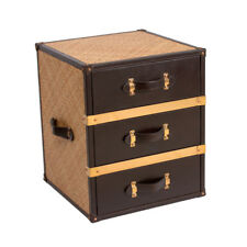 Rattan And Genuine Leather Three Drawer Chest Bedroom Bedside Nightstand