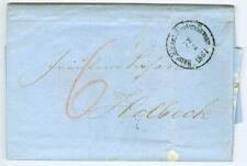 Denmark: Unpaid letter railway cancellation to Holbaek 1861.