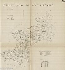 Provincia Catanzaro: Tutti i Comuni 1938.Carta Topografica.Anno XVI Era Fascista