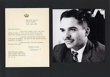 King Hussein of Jordan bin Talal autograph, typed letter signed & mounted