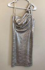 Angel Sanchez formal Silver dress evening gown one shoulder Size 6
