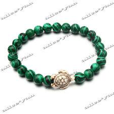 1ps Turtle Man Women Natural Malachite Turquoise Stone Stretch Yoga Bracelet