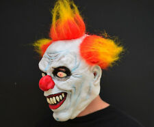 Creepy Evil Scary Halloween Clown Mask Rubber Latex YELLOW HAIRED CLOWN