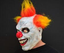 Creepy Evil Scary Halloween Clown Mask Rubber Latex Yellow Haired Clown FREESHIP