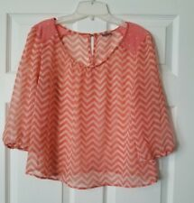 Charlotte Russe Small Sheer Pink Zig Zag Pattern 3/4 Length Sleeve Boat Neck Top