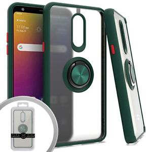 LG Stylo 5 Frosted Transparent Case Metal Ring Kickstand Hybrid Rubber Cover