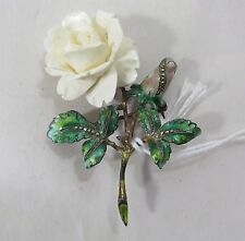 Vintage White Rose Brooch - Sterling Silver w/ painted leaves & White Flower