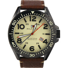 Tommy Hilfiger Men's 1791133 Casual Sport Analog Quartz Brown Leather Watch