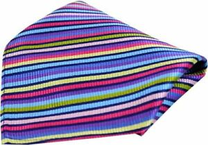 Posh and Dandy Mens Thin Striped Luxury Silk Pocket Square - Multi-colour