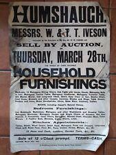 Original 1901 letterpress Poster Sale Of household furnishings, Humshaugh