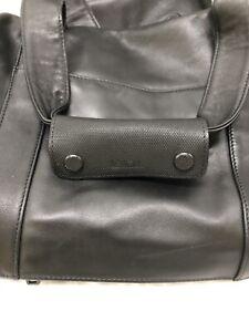 TUMI USA Black Leather Medium Holdall Travel Bag
