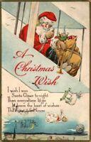 Antique Christmas Postcard  Santa Flying Bi Plane Toys Falling  Emb Dvb ca. 1921