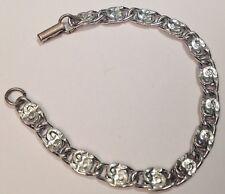 bracelet vintage métal ultra léger couleur argent poli maillon déco signé 4063