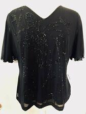 Atten Ladies Short Sleeve Sequin & Bead Top, Ballroom, Black, Approx Size 4, NWT
