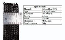 Carbon heater fiber flex tape 1 meter x 22 mm for DIY heated vest gloves insoles