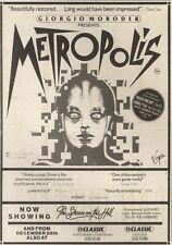 22/12/84PN42 ADVERT: GIORGIO MORODER PRESENTS METROPOLIS 0N SCREENS 7X5