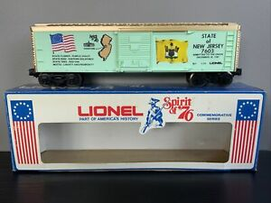 """LIONEL """"SPIRIT OF 76"""" COMMEMORATIVE SERIES STATE OF NEW JERSEY BOX CAR 6-7603 RR"""