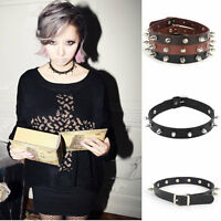 Girls Gothic Black Leather Punk Spike Rivet Buckle Collar Choker Necklace Cool