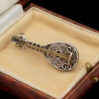 Antique Vintage Art Deco Sterling Silver Filigree Cannetille Mandolin Pin Brooch