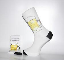 White Socks With Beer Mug Design, Lovely Birthday or Christmas Gift