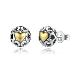 Heart Stud Earrings With Gold Plating Genuine Sterling Silver 925 Girls Kids