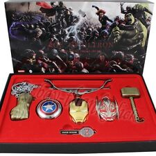 7x Avengers Hero Age of Ultron 4cm-13cm Metal Key Ring/Necklace Pendant Set WB A
