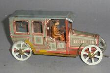 Uralt Georg Fischer Pennytoy Limousine mit lithografierter Blech Fahrerfigur