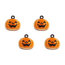 Colorful Halloween Pumpkin Smile Face Bells Alloy Jewelry Pendants Charms 10pcs