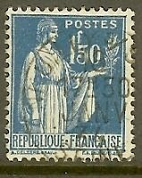 "FRANCE TIMBRE STAMP N°288 ""TYPE PAIX, 1 F 50 BLEU"" OBLITERE TB"