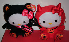 Ty Beanie Baby Set - HELLO KITTY (Black Cat Costume) & (Red Devil Costume) MWMTS