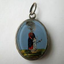 XIXè PENDENTIF ARGENT DECOR PEINT FIXE SOUS VERRE Ste Anne Victorian EGLOMISE