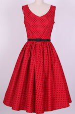 50s Rockabilly Bombshell Pinup Polka Dots Red Dresses XS,S,M,L,XL #C004