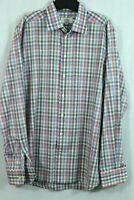 ETON Contemporary Button Down Shirt XL Men's 17.5 Colorful Plaid Poplin Cotton