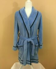 Tommy Hilfiger Sleepwear Short Plush Robe Sky Blue w/ Navy Piping - Sz S/M