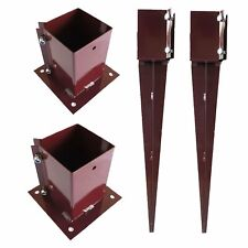 More details for fence post support spikes & shoes bolt down holders 75mm / 100mm garden stakes