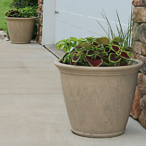 "Sunnydaze Anjelica Outdoor Double-Walled Flower Pot Planter - Beige - 24"" - 4-PK"