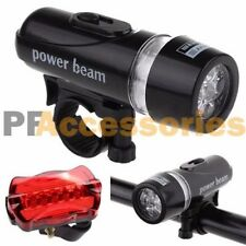 Waterproof 5 White LED Front Head Lamp & 5 Red LED Rear Tail Bike Light Set
