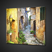 STREETS OF MEDITERRANEAN VILLAGE BOX MOUNTED CANVAS PRINT WALL ART PICTURE PHOTO