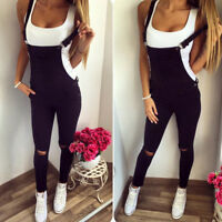 Women Denim Jumpsuit Jeans Casual Ripped Slim Fit Overall Dungaree Long Trousers