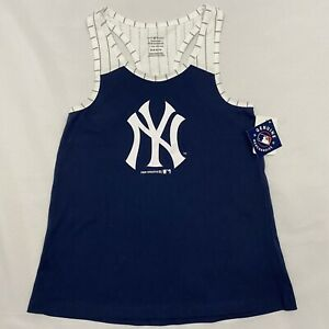 NY Yankees MLB New York Navy Blue & White Pinstripe Girl's Racerback Tank Top